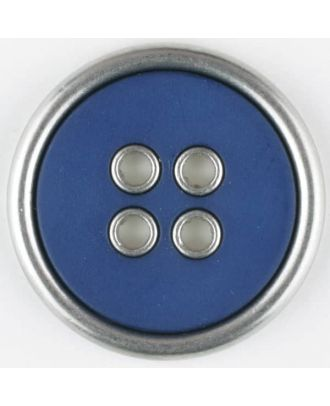 two-piece full metall button-polyamide button, round, 4 holes - Size: 20mm - Color: blue - Art.No. 320653