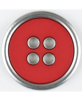 two-piece full metall button-polyamide button, round, 4 holes - Size: 30mm - Color: red - Art.No. 370737