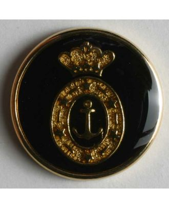 Coat of arms button, full metal - Size: 20mm - Color: black - Art.No. 340076