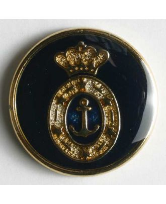 Coat of arms button, full metal - Size: 20mm - Color: blue - Art.No. 340077