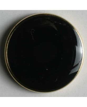 Blazer button, full metal - Size: 23mm - Color: black with gold rim - Art.No. 350089