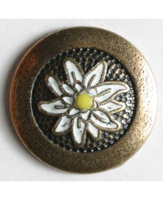 Edelweiss button, full metal - Size: 18mm - Color: antique brass - Art.No. 350106