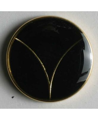 Blazer button, full metal - Size: 20mm - Color: black/gold - Art.No. 340117
