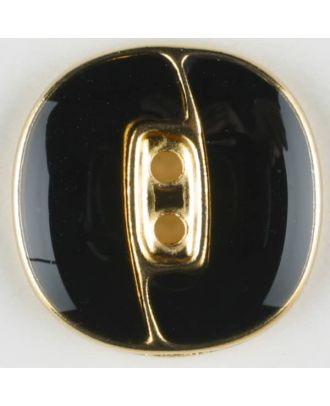 Blazer button, full metal - Size: 23mm - Color: black/gold - Art.No. 350116