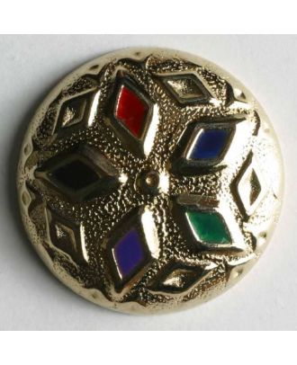 Jewellery button, full metal - Size: 18mm - Color: gold - Art.No. 370122