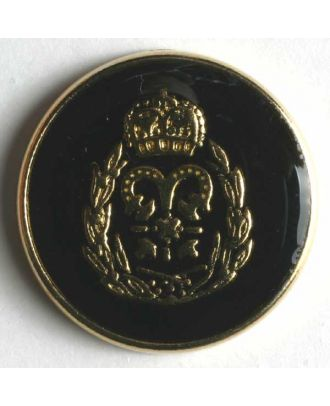 Coat of arms button, full metal - Size: 19mm - Color: black - Art.No. 340247