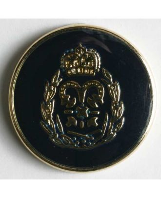 Coat of arms button, full metal - Size: 23mm - Color: blue - Art.No. 360153