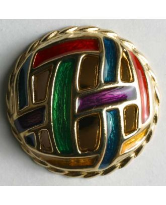 Jewellery button, full metal - Size: 28mm - Color: gold - Art.No. 410012