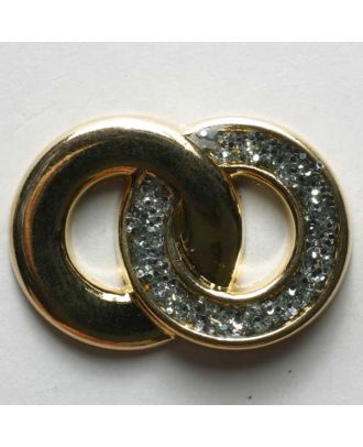 Ring button, full metal - Size: 28mm - Color: gold - Art.No. 390073