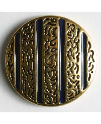 Jewellery button, full metal - Size: 15mm - Color: blue - Art.No. 320342