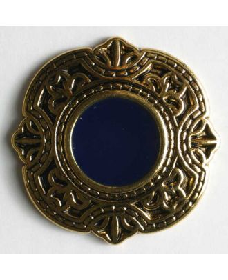 Jewellery button, full metal - Size: 25mm - Color: blue - Art.No. 370188