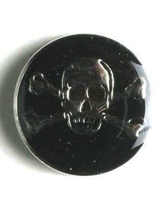 Pirate skull button, full metal black/silver, poison symbol skull and crossbones   - Size: 25mm - Color: silver - Art.No. 360437
