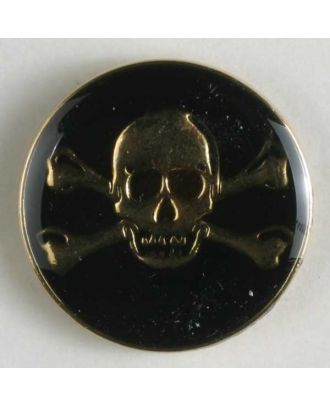 Pirate skull button, full metal, black/gold - Size: 25mm - Color: gold-plated - Art.No. 370308