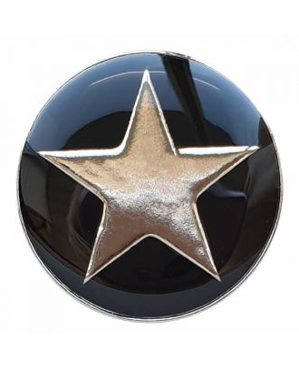 full metal button star with shank  - Size: 20mm - Color: black - Art.No. 341335