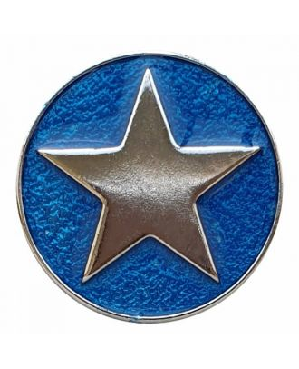 full metal button star with shank  - Size: 25mm - Color: blue - Art.No. 380398