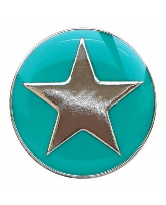 full metal button star with shank  - Size: 25mm - Color: green - Art.No. 380391