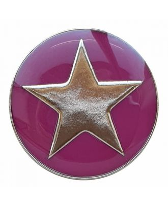 full metal button star with shank  - Size: 25mm - Color: pink - Art.No. 380392