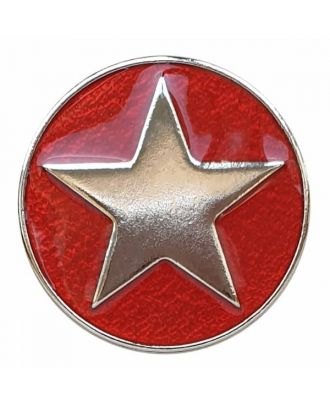 full metal button star with shank  - Size: 25mm - Color: red - Art.No. 380400