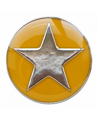 full metal button star with shank  - Size: 25mm - Color: yellow - Art.No. 380393