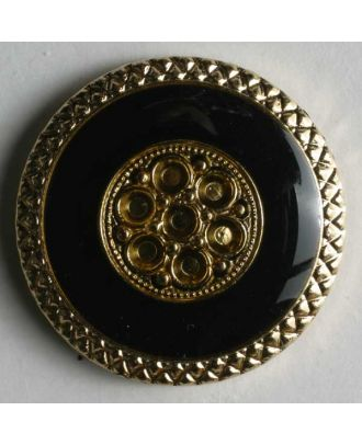 Jewellery button, metallized plastic - Size: 20mm - Color: black - Art.No. 340169