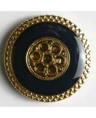 Jewellery button, metallized plastic - Size: 25mm - Color: blue - Art.No. 380021