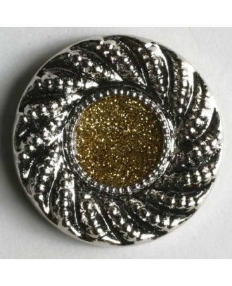 Jewellery button, metallized plastic - Size: 23mm - Color: silver - Art.No. 340216
