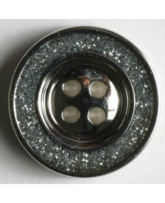 Jewellery button, metallized plastic - Size: 23mm - Color: dull silver - Art.No. 350305