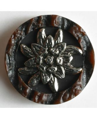 stag horn imitation button - Size: 28mm - Color: brown - Art.No. 350276