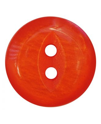 polyester button round shape with shiny surface and 2 holes - Size: 13mm - Color: orange - Art.No.: 247813