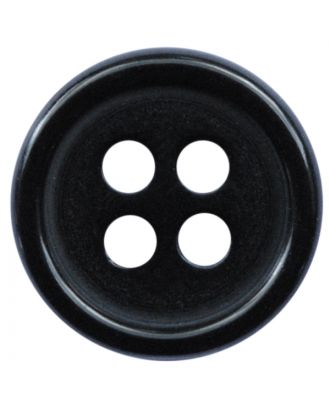polyester button round shape with shiny surface and 4 holes  - Size: 11mm - Color: schwarz - Art.No.: 211807