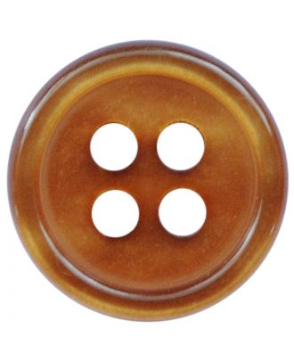 polyester button round shape with shiny surface and 4 holes  - Size: 11mm - Color: hellbraun - Art.No.: 217802