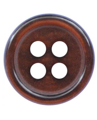 polyester button round shape with shiny surface and 4 holes  - Size: 11mm - Color: dunkelbraun - Art.No.: 217803