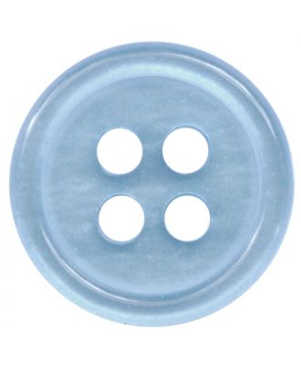 polyester button round shape with shiny surface and 4 holes  - Size: 11mm - Color: hellblau - Art.No.: 217804