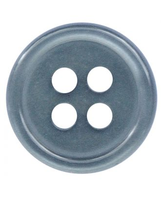 polyester button round shape with shiny surface and 4 holes  - Size: 11mm - Color: rauchblau - Art.No.: 217805
