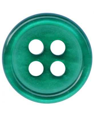 polyester button round shape with shiny surface and 4 holes  - Size: 11mm - Color: grün - Art.No.: 217808