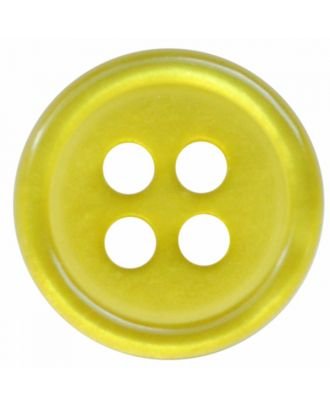 polyester button round shape with shiny surface and 4 holes  - Size: 9mm - Color: senfgrün - Art.No.: 197809