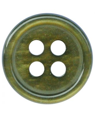 polyester button round shape with shiny surface and 4 holes  - Size: 9mm - Color: khaki - Art.No.: 197810