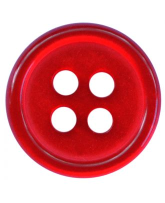 polyester button round shape with shiny surface and 4 holes  - Size: 11mm - Color: rot - Art.No.: 217811