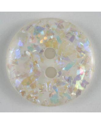 Glitter button - Size: 19mm - Color: white - Art.No. 260549