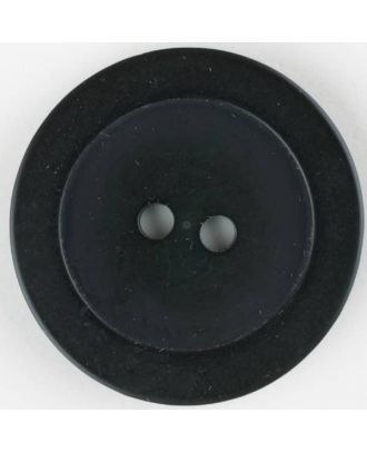 polyester button, round, 2 holes - Size: 23mm - Color: black - Art.No. 341165