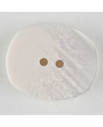 Polyester button, oval, 2 holes - Size: 28mm - Color: white - Art.No. 380336