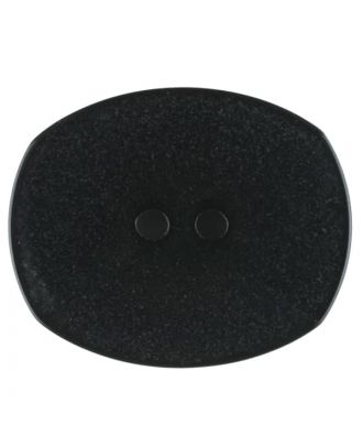 Polyester button, oval, 2 holes - Size: 23mm - Color: black - Art.No. 341203