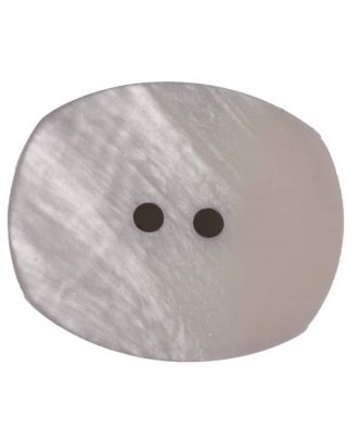 Polyester button, oval, 2 holes - Size: 23mm - Color: beige - Art.No. 346715