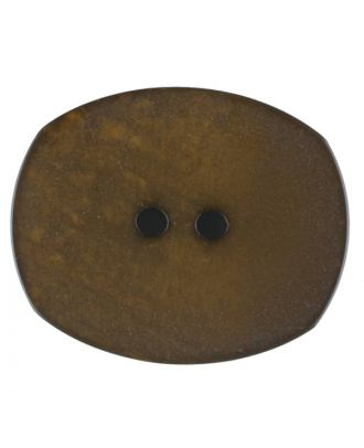 Polyester button, oval, 2 holes - Size: 28mm - Color: brown - Art.No. 386713