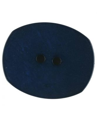 Polyester button, oval, 2 holes - Size: 28mm - Color: blue - Art.No. 386715