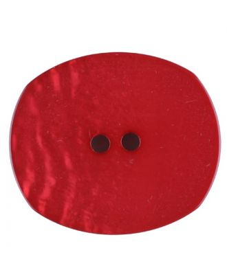 Polyester button, oval, 2 holes - Size: 28mm - Color: red - Art.No. 386717