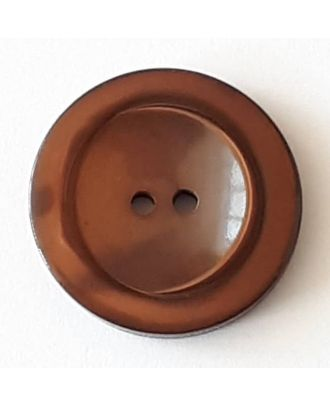 polyester button with 2 holes - Size: 28mm - Color: brown - Art.No. 388715