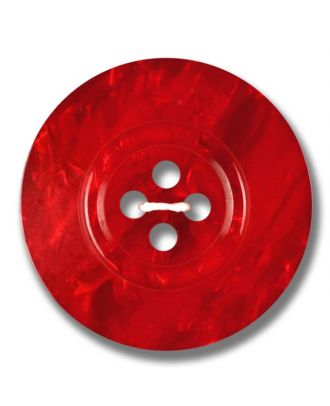 polyester button 4-hole pearlimitation shiny - Size: 23mm - Color: red - Art.No. 343809