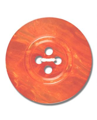 polyester button 4-hole pearlimitation shiny - Size: 28mm - Color: orange - Art.No. 383811