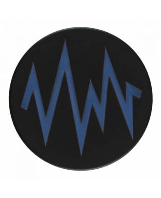 2-layer polyester black button with colored zig zag design and shank - Size: 28mm - Color: blue - Art.No. 404814